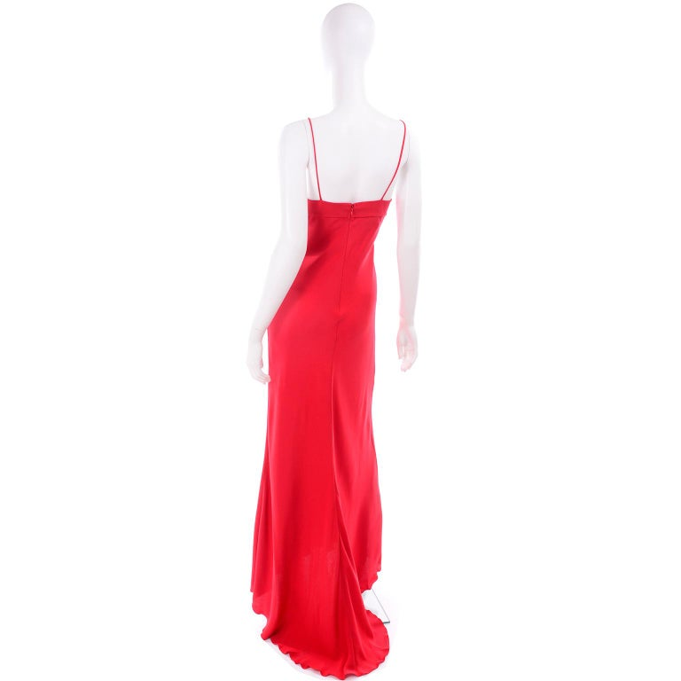 Vintage Valentino Boutique Silk Red Evening Bias Cut Long Slip Dress With Train For Sale 1