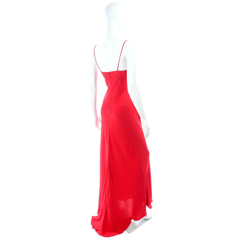 Vintage Valentino Boutique Silk Red Evening Bias Cut Long Slip Dress With Train For Sale 2