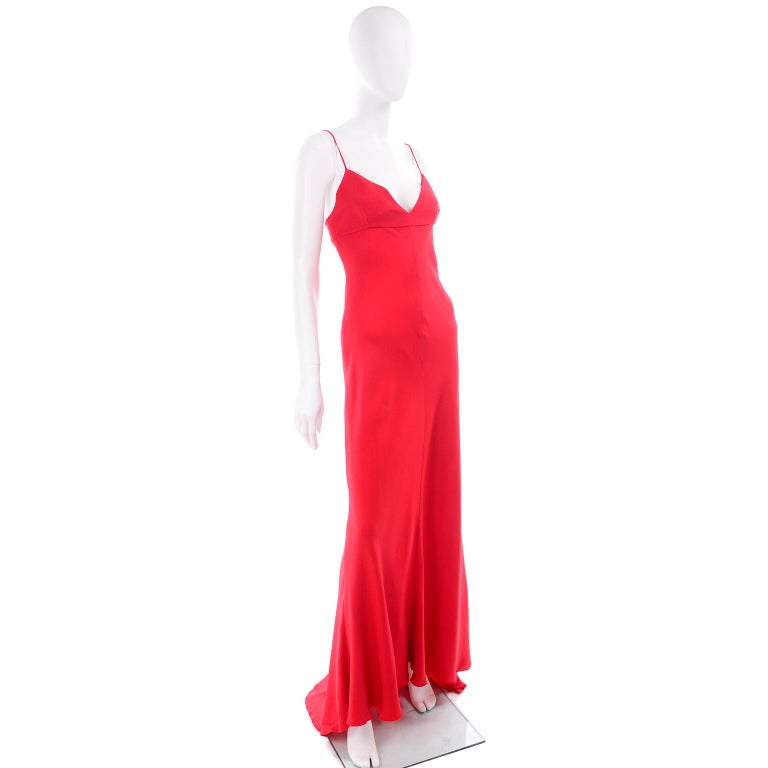 Vintage Valentino Boutique Silk Red Evening Bias Cut Long Slip Dress With Train For Sale 3
