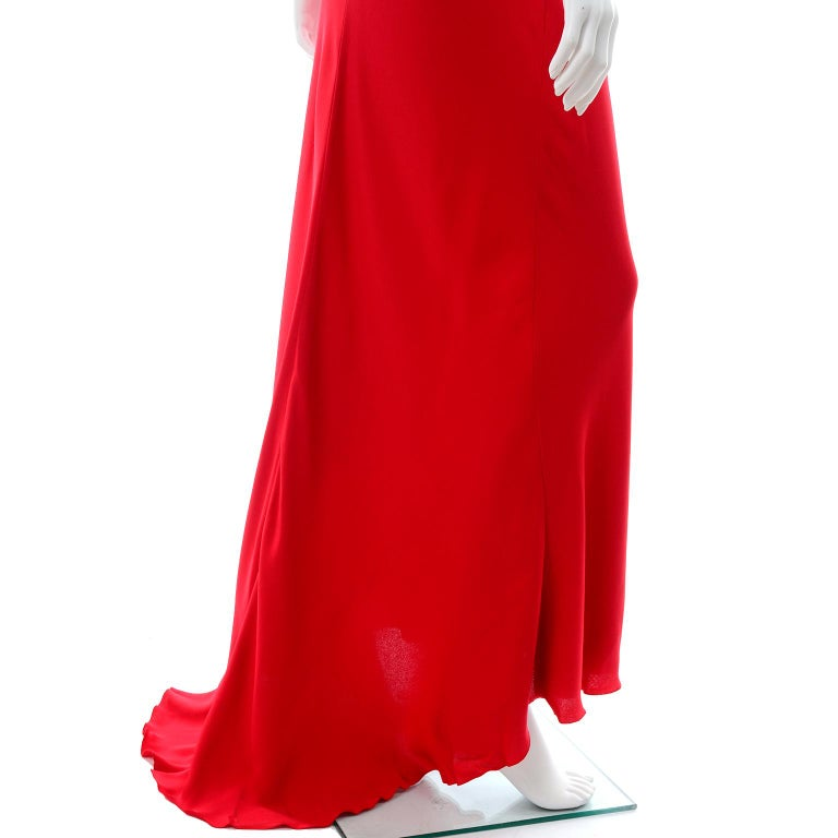 Vintage Valentino Boutique Silk Red Evening Bias Cut Long Slip Dress With Train For Sale 5