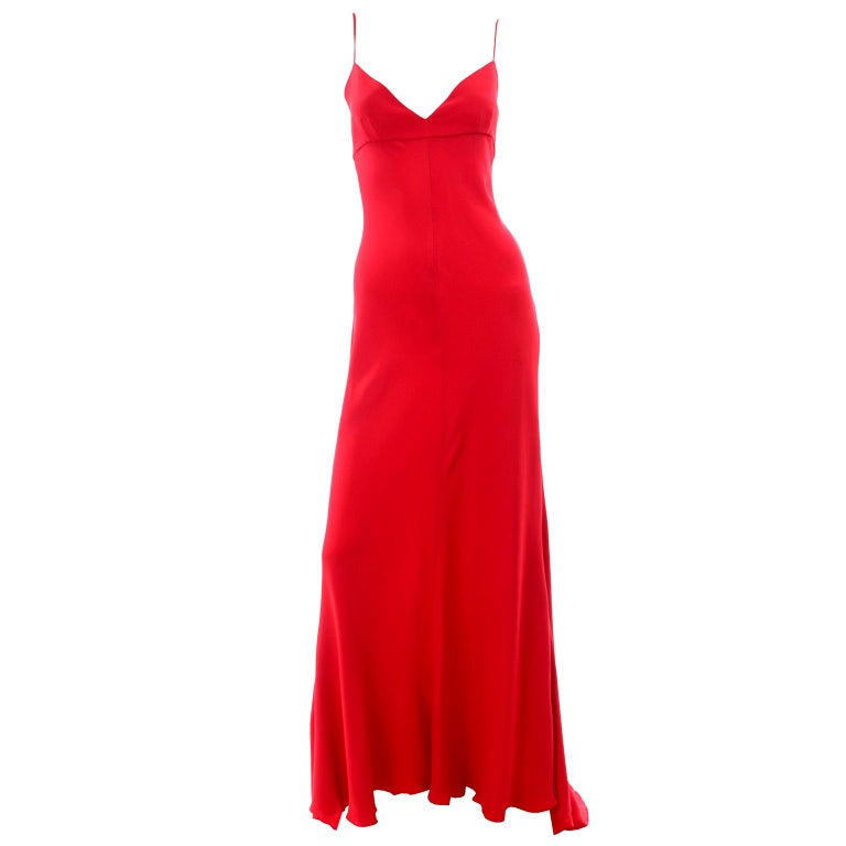Vintage Valentino Boutique Silk Red Evening Bias Cut Long Slip Dress With Train For Sale