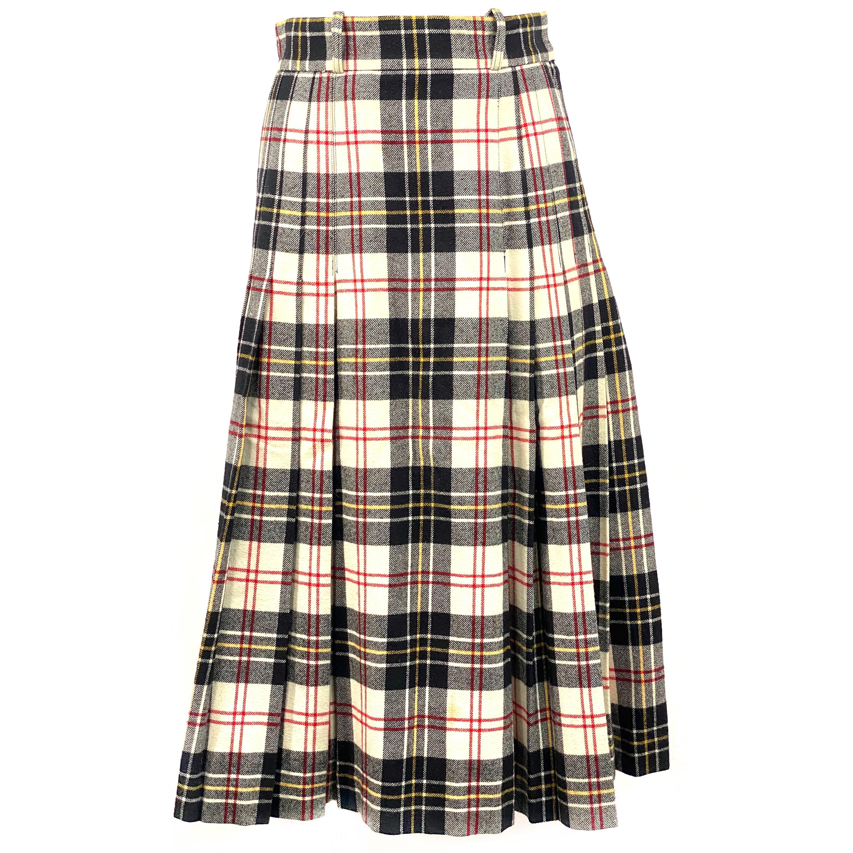 Vintage Valentino Boutique Wool Plaid Flare Midi Skirt Size 8