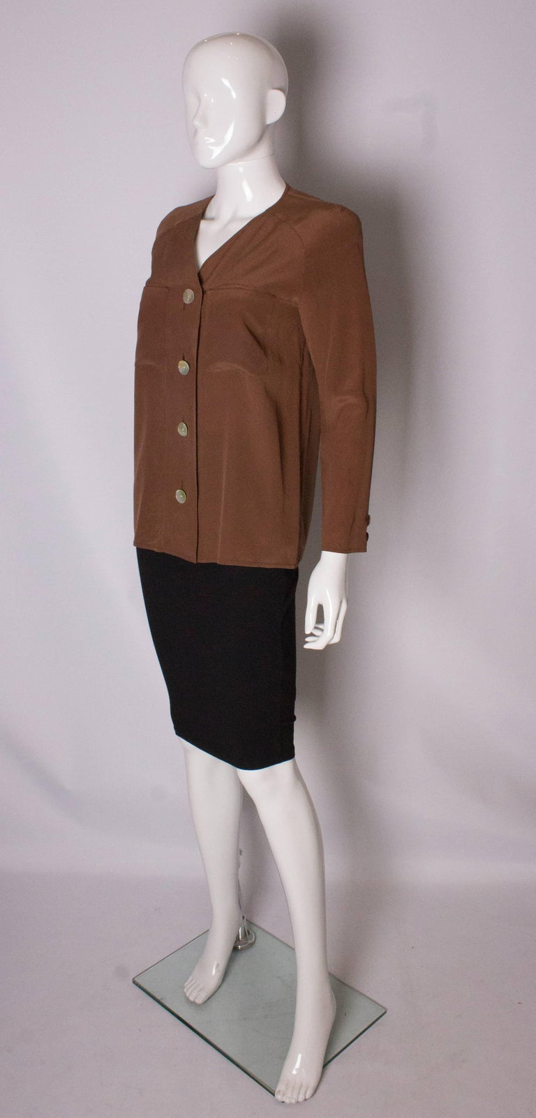 Vintage Valentino Brown Silk  Blouse In Good Condition For Sale In London, GB