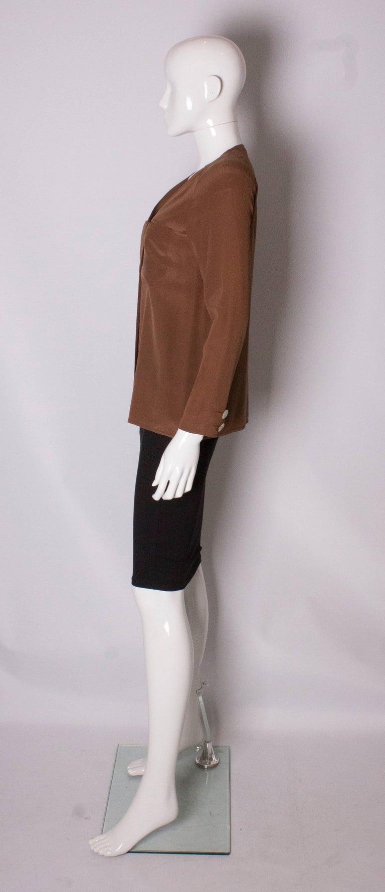Women's  Vintage Valentino Brown Silk  Blouse For Sale