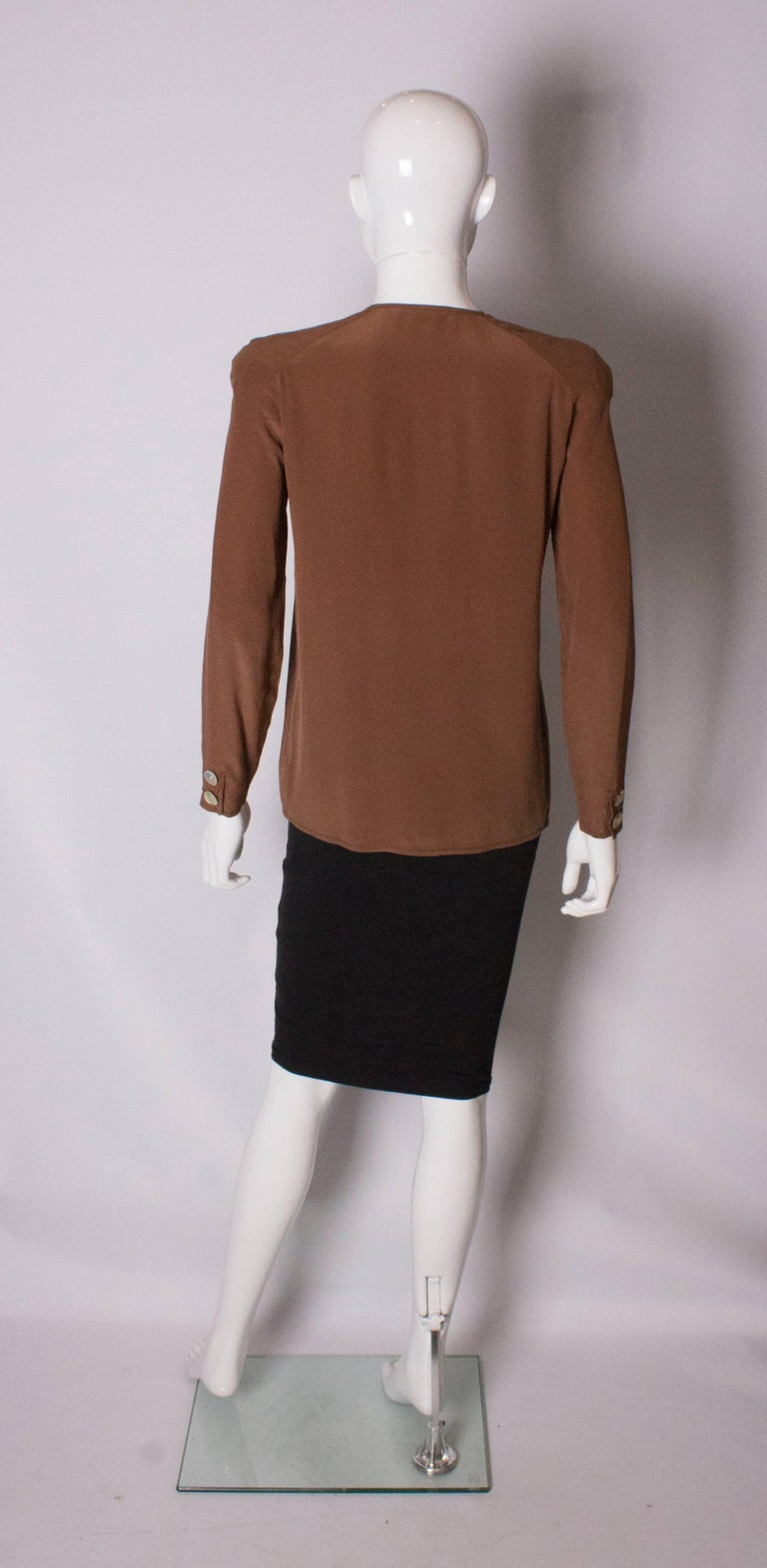 Vintage Valentino Brown Silk  Blouse For Sale 1