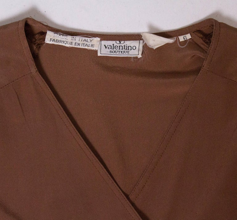 Vintage Valentino Brown Silk  Blouse For Sale 2