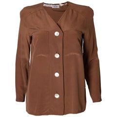 Vintage Valentino Brown Silk  Blouse
