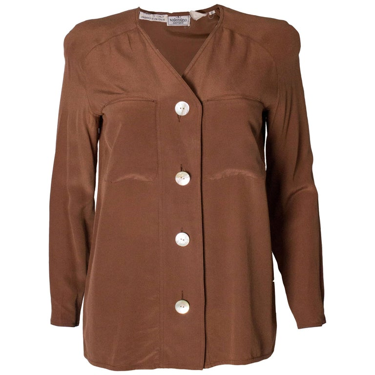 Vintage Valentino Brown Silk  Blouse For Sale