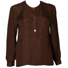 Vintage Valentino Brown Silk Top