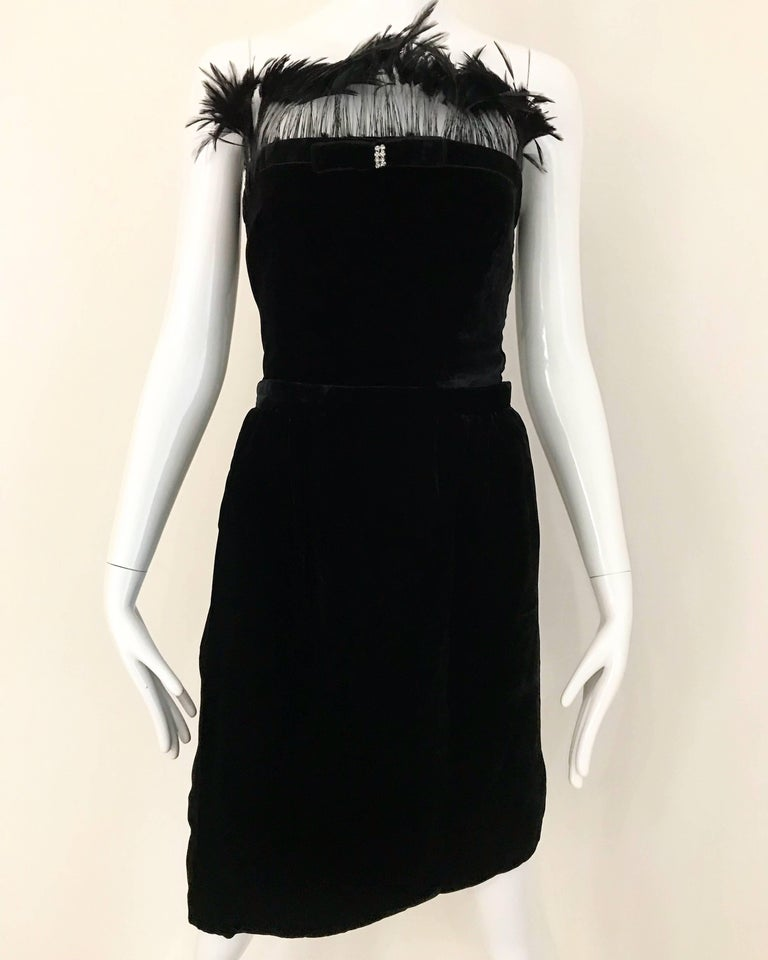 Vintage Valentino Cocktail Black Velvet Bustier Top and Skirt Ensemble  For Sale 1