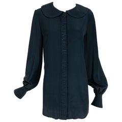 Vintage Valentino Dark Blue Silk Embroidered Tunic Blouse 1990s