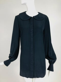 Vintage Valentino Dark Blue Silk Embroidered Tunic Blouse 1990s