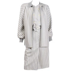Vintage Valentino Dress & Jacket Ensemble W/ Belt in  Gray Abstract Stripes