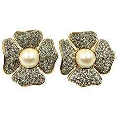 Vintage Valentino Four-Leaf Clover Faux Pearl, Crystal Oversize Earrings, 1980s