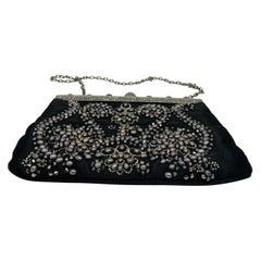 Vintage VALENTINO Garavani Black Bead Pearl Evening Mini Clutch Bag w/ Chain