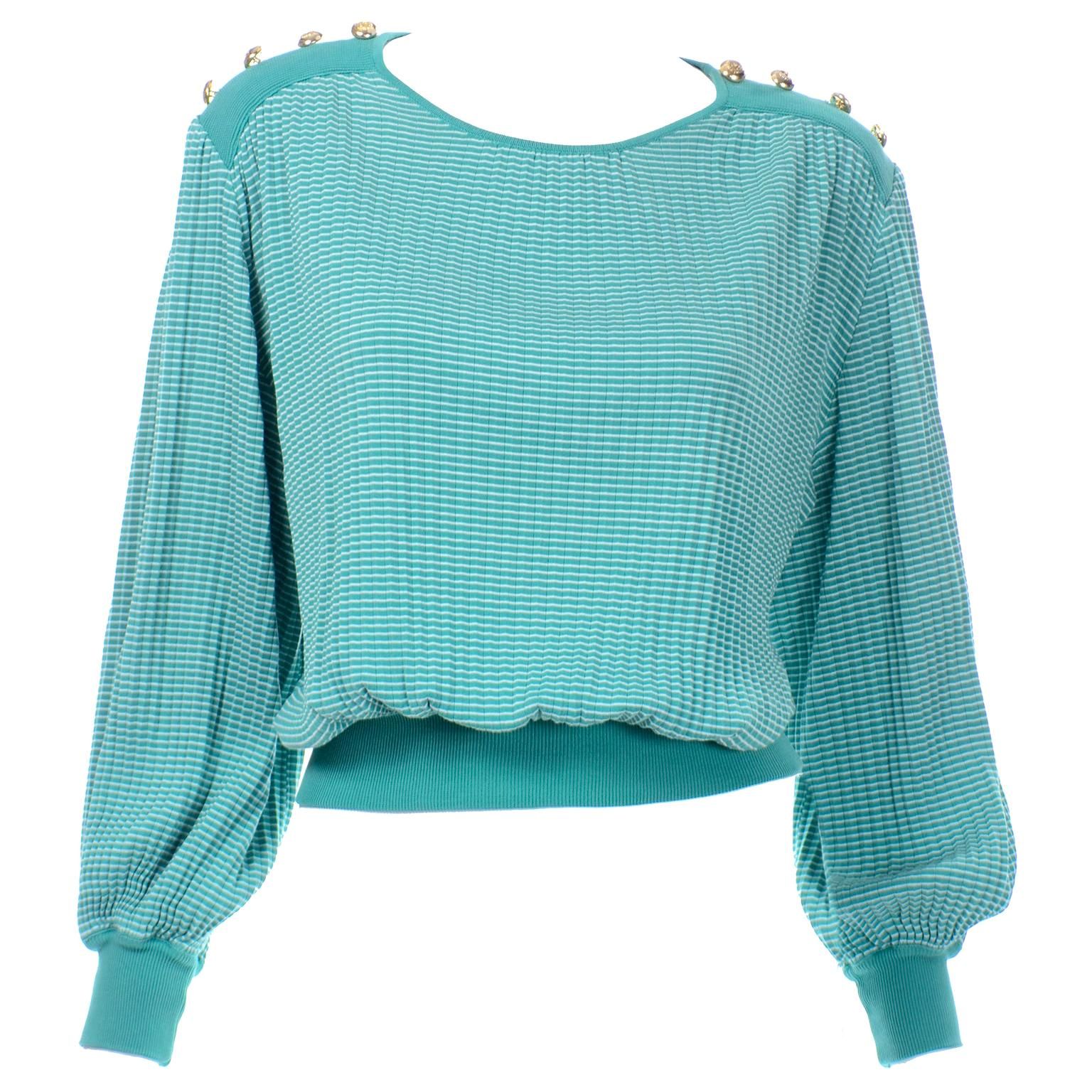 Vintage Valentino Green Knit Top With Gold Buttons And Bishop Sleeves