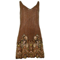 Vintage Valentino Heavily Beaded Floral Mini Dress