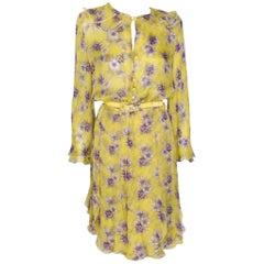 Vintage Valentino Night 100% Silk Sunburst Yellow Floral Print Dress With Belt