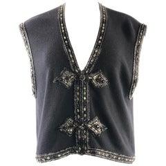 Vintage VALENTINO Night Black Knit Vest w/ Rhinestone Size M