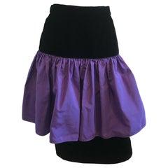 1990's Vintage Valentino Night Purple Flounce Silk and Black Velvet Skirt