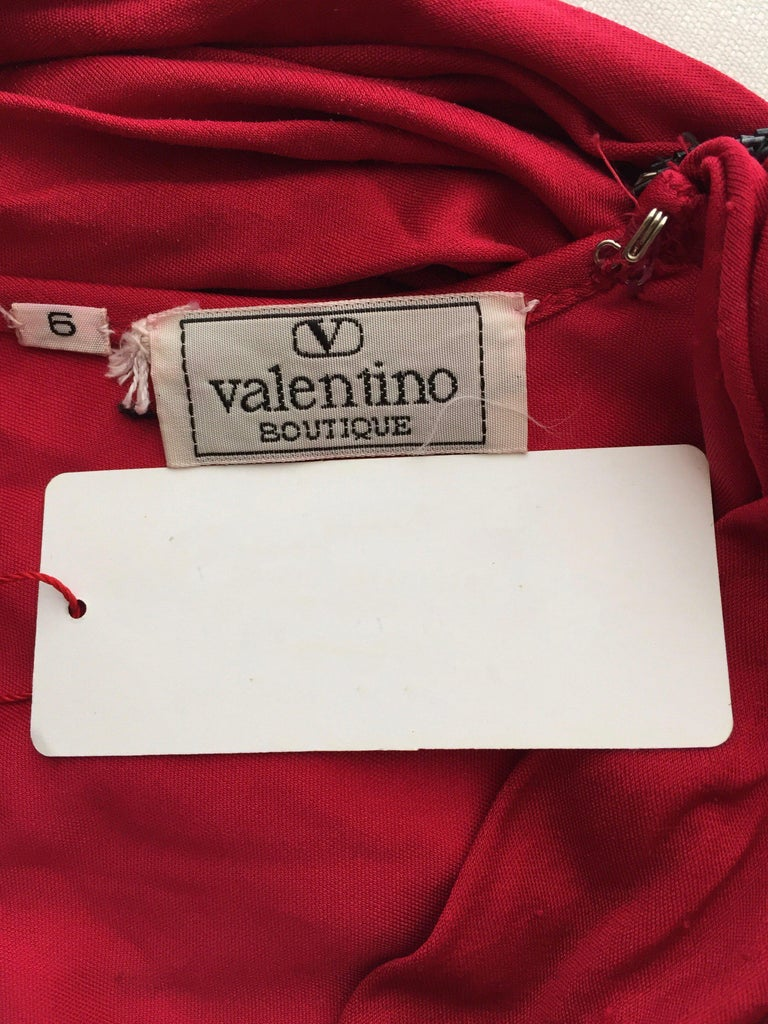Vintage Valentino Red Silk Jersey Open Back Dress For Sale 5