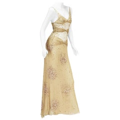 Vintage Valentino S/S 2001 Runway Nude Sexy Sheer Fully Embellished Dress Gown