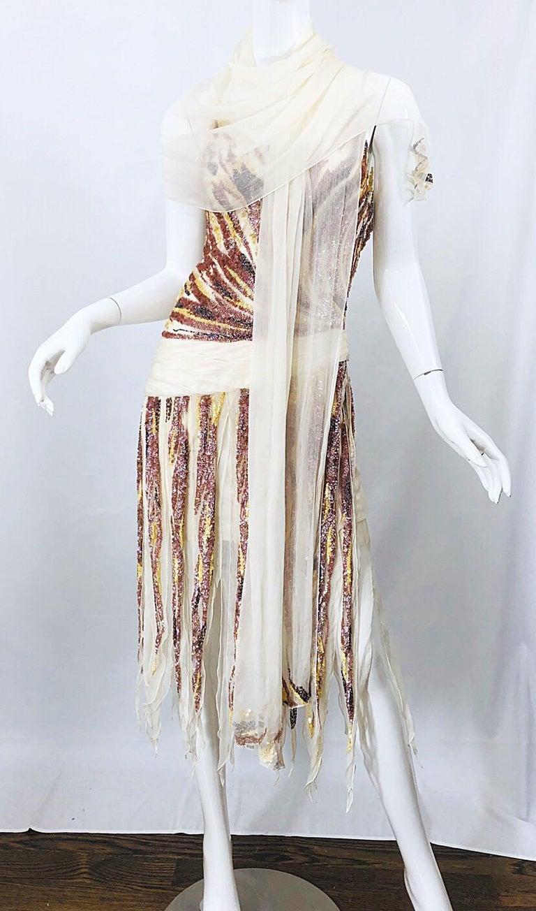 Vintage Valentino Sequined Flapper 20s Style Car Wash Hem Chiffon Dress + Shawl For Sale 5