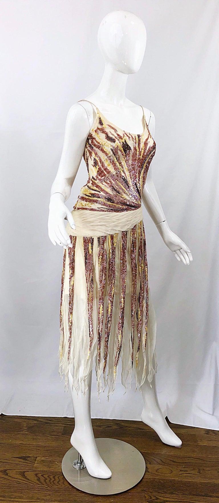 Vintage Valentino Sequined Flapper 20s Style Car Wash Hem Chiffon Dress + Shawl For Sale 7