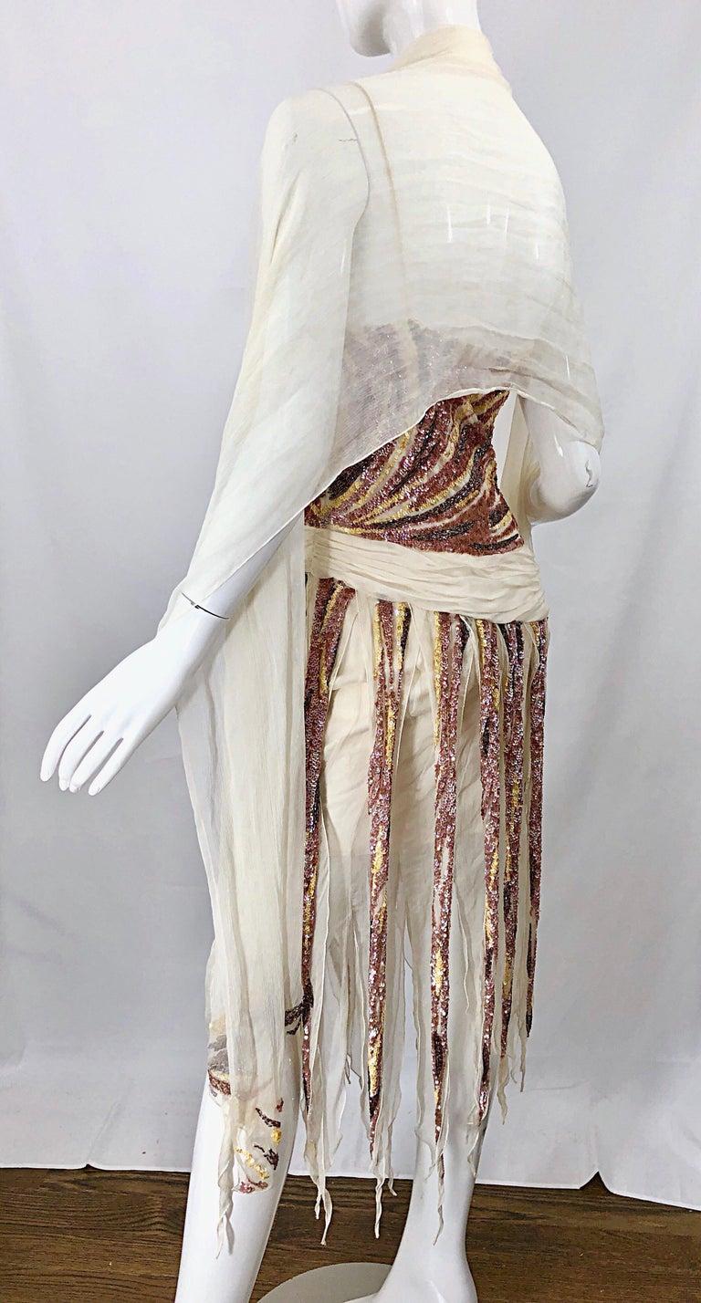 Vintage Valentino Sequined Flapper 20s Style Car Wash Hem Chiffon Dress + Shawl For Sale 8