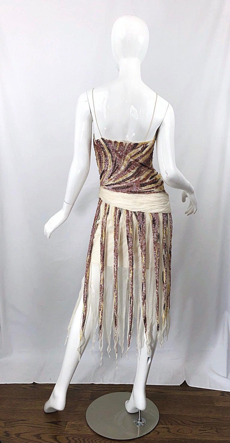 Vintage Valentino Sequined Flapper 20s Style Car Wash Hem Chiffon Dress + Shawl For Sale 9