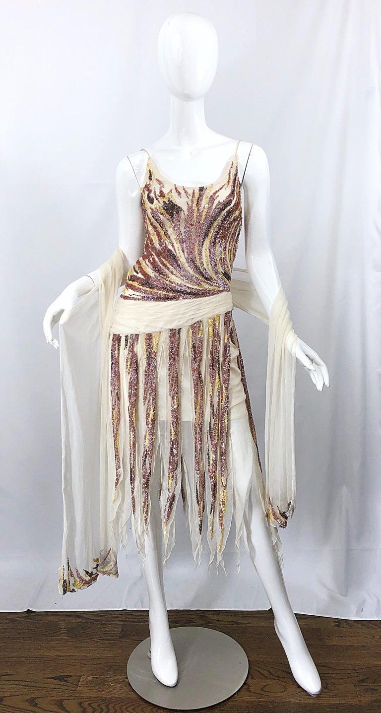 Gray Vintage Valentino Sequined Flapper 20s Style Car Wash Hem Chiffon Dress + Shawl For Sale