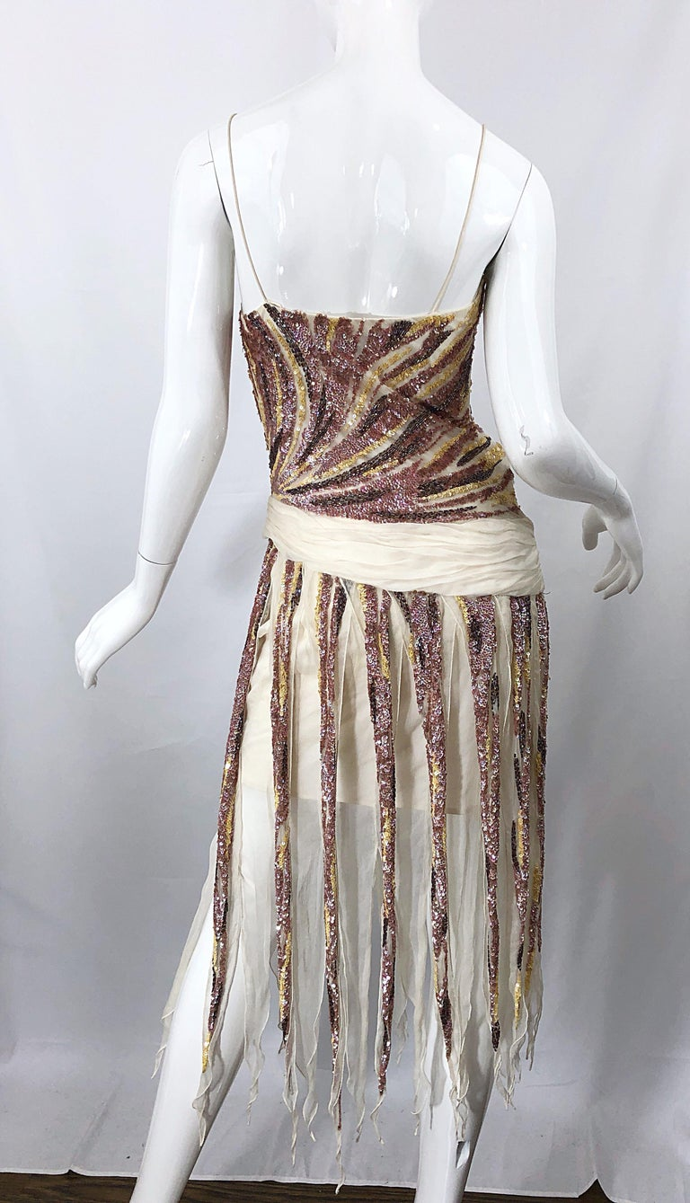 Vintage Valentino Sequined Flapper 20s Style Car Wash Hem Chiffon Dress + Shawl In Excellent Condition For Sale In Chicago, IL