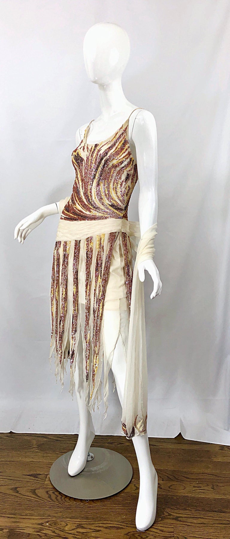 Women's Vintage Valentino Sequined Flapper 20s Style Car Wash Hem Chiffon Dress + Shawl For Sale