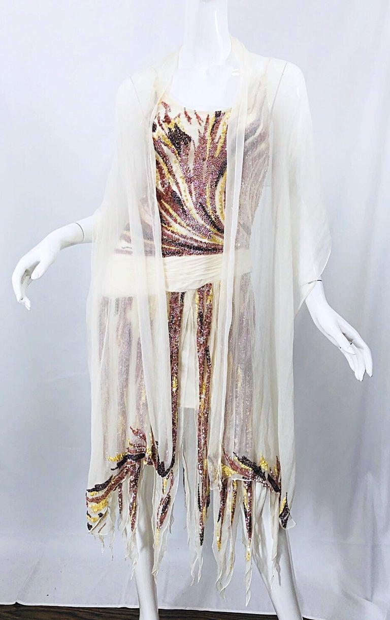 Vintage Valentino Sequined Flapper 20s Style Car Wash Hem Chiffon Dress + Shawl For Sale 1