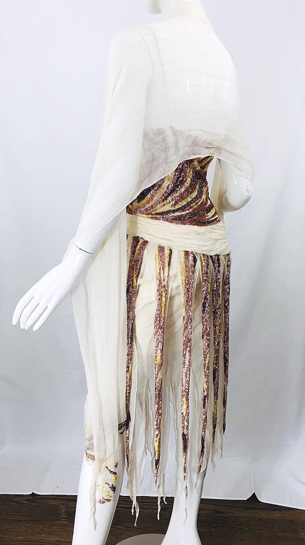 Vintage Valentino Sequined Flapper 20s Style Car Wash Hem Chiffon Dress + Shawl For Sale 3