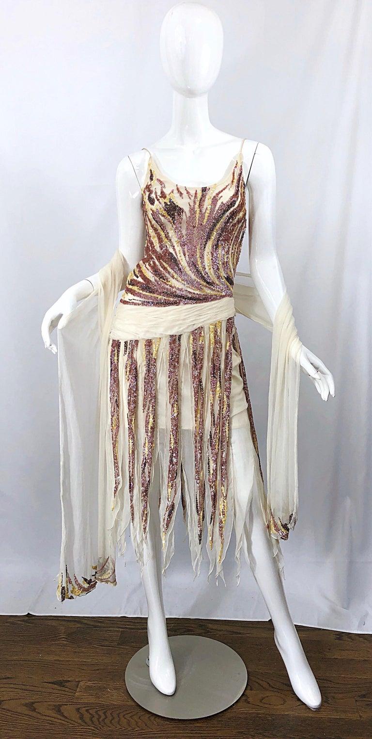 Vintage Valentino Sequined Flapper 20s Style Car Wash Hem Chiffon Dress + Shawl For Sale 4