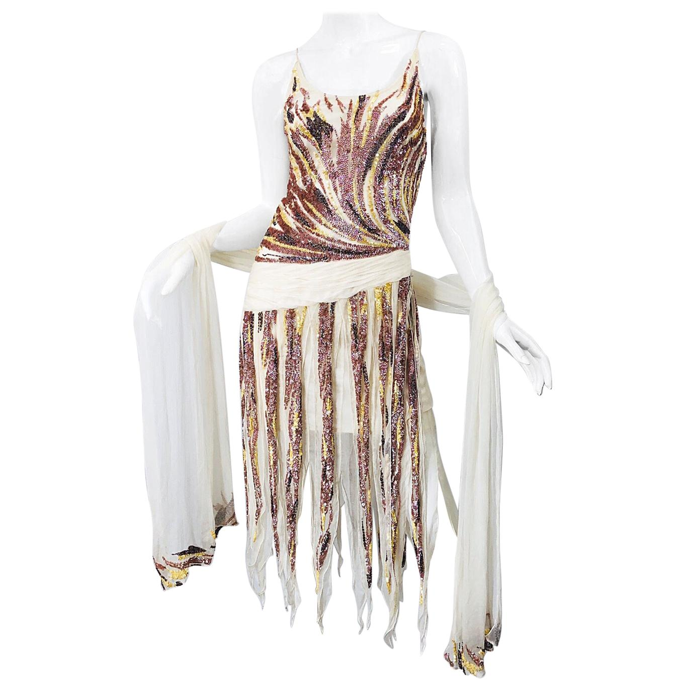 Vintage Valentino Sequined Flapper 20s Style Car Wash Hem Chiffon Dress + Shawl