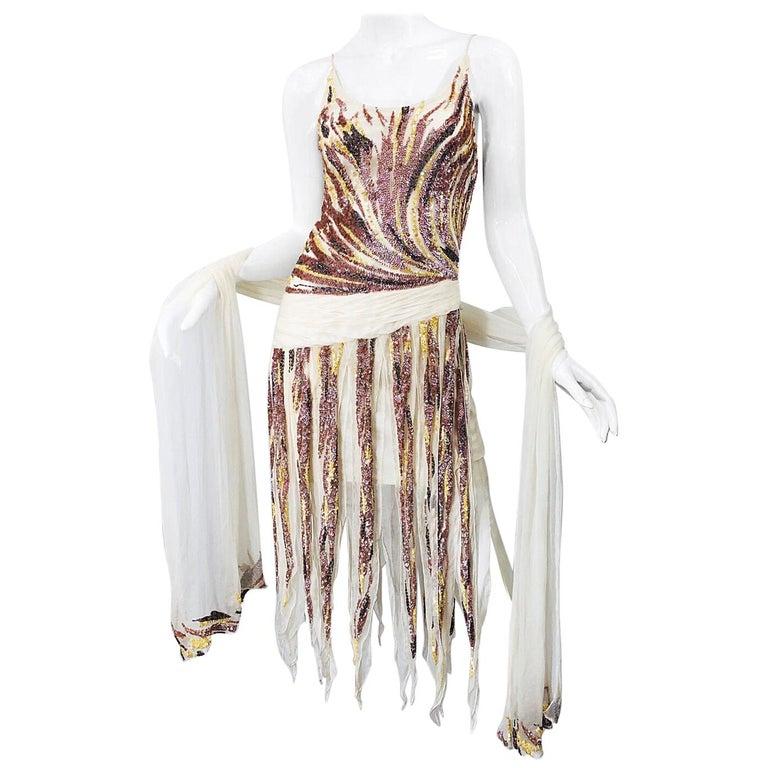 Vintage Valentino Sequined Flapper 20s Style Car Wash Hem Chiffon Dress + Shawl For Sale
