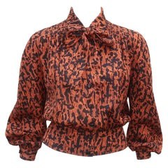 Vintage Valentino Silk Crepe Abstract Animal Print Blouse