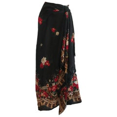 Vintage Valentino Silk Chiffon Floral & Tassel Printed Maxi Skirt