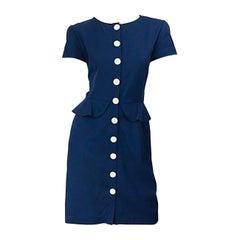 Vintage Valentino Size 10 Navy Blue 1980s Short Sleeve Nautical 80s Dress