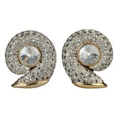 Vintage VALENTINO Snail Rhinestone Earrings