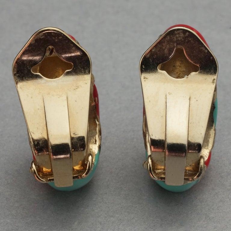 Vintage VALENTINO V Logo Enamel Earrings For Sale 6