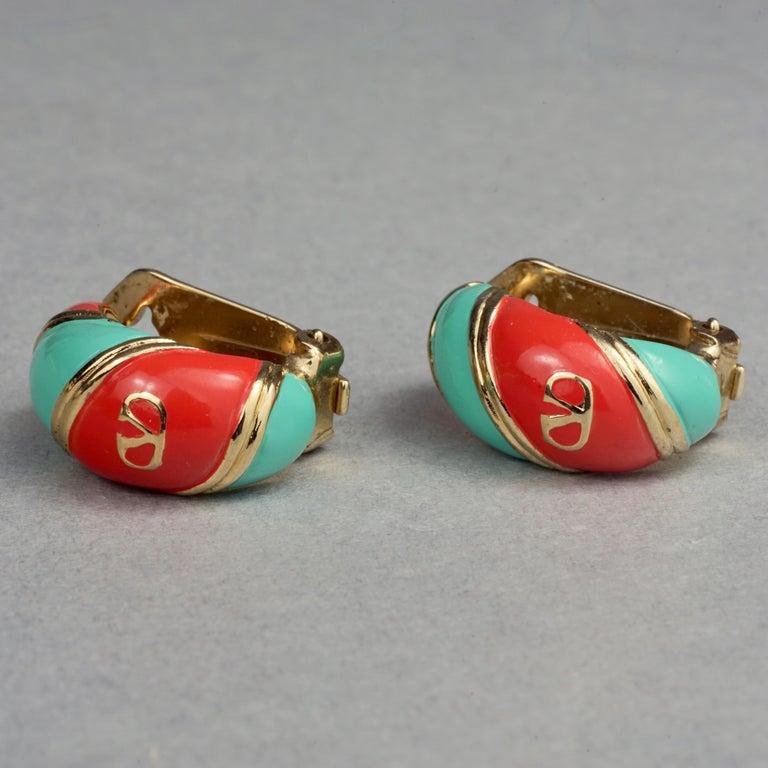 Women's Vintage VALENTINO V Logo Enamel Earrings For Sale