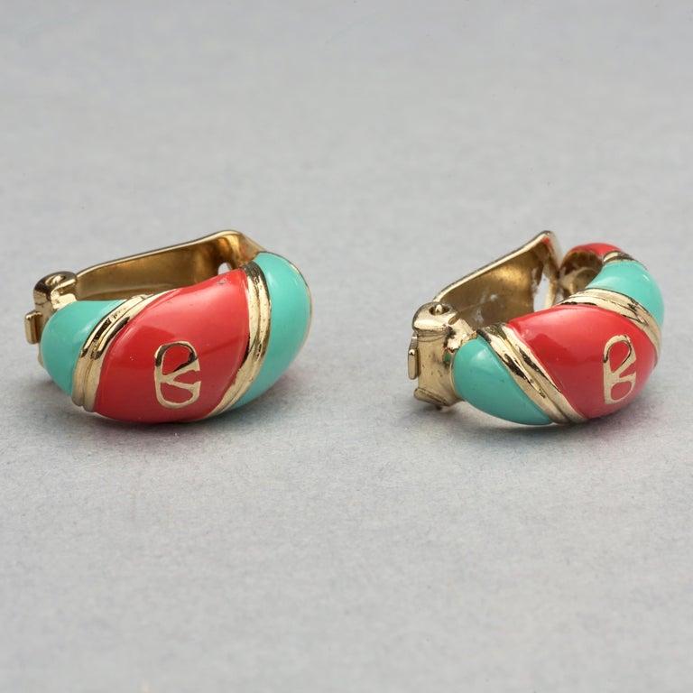Vintage VALENTINO V Logo Enamel Earrings For Sale 1