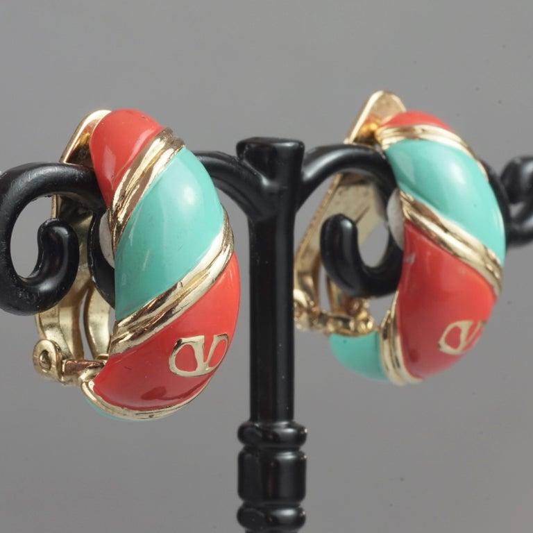 Vintage VALENTINO V Logo Enamel Earrings For Sale 5