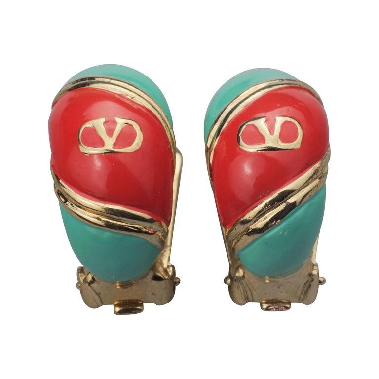 Vintage VALENTINO V Logo Enamel Earrings For Sale
