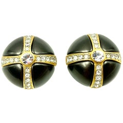 Vintage Valentino X-Design Crystal and Faux Black Pearl Circular Earrings