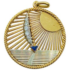 Vintage Van Cleef & Arpels 18 Karat Gold Diamond and Sapphire Sailboat Charm