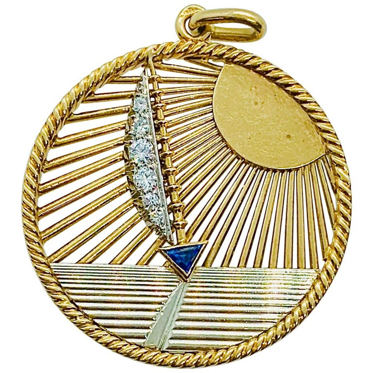Vintage Van Cleef & Arpels 18 Karat Gold Diamond and Sapphire Sailboat Charm